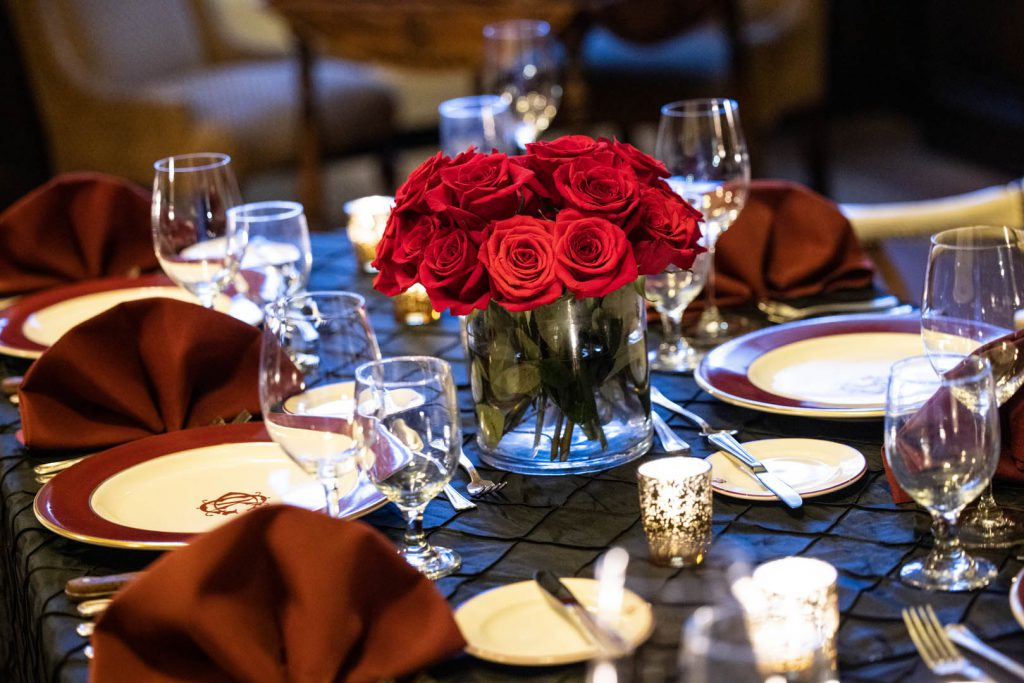 bouquet of roses on dining table