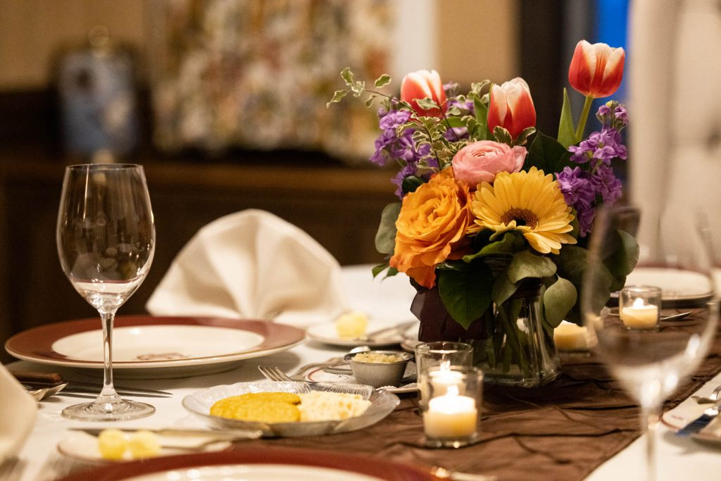 bouquet at a table